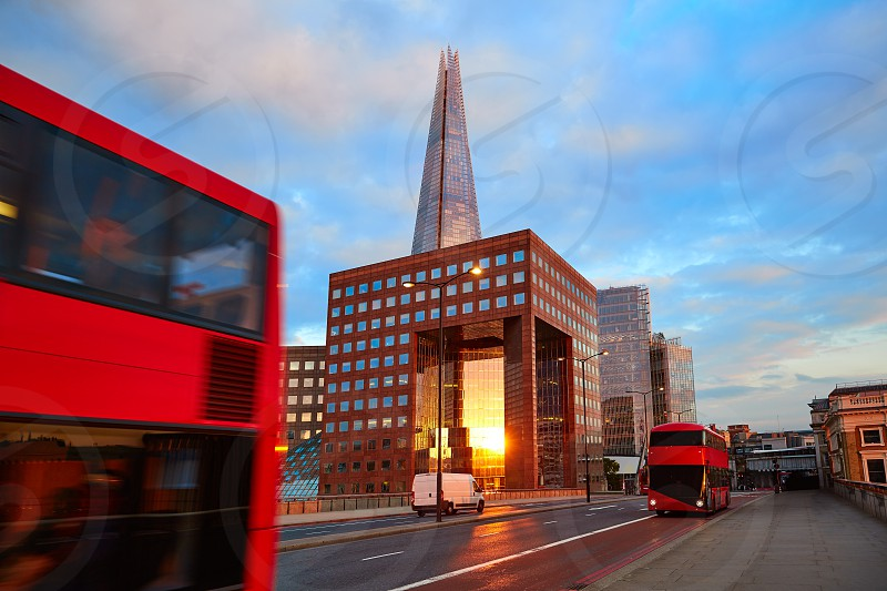London The Shard building at sunset in England photo