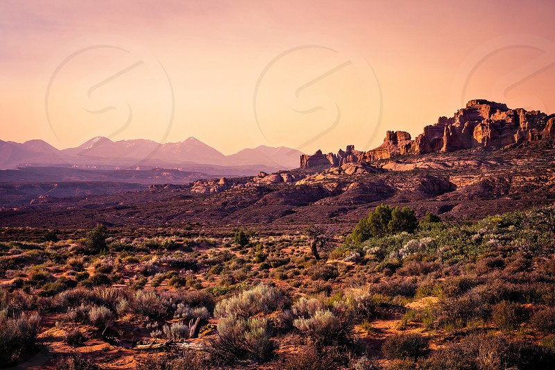 Sunset from Panorama Point in Arches National Park Moab Utah. photo
