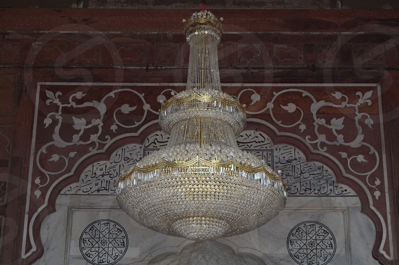 Gold and white chandelier photo