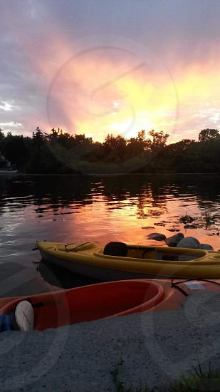 Michigan lake sunset kayaking photo