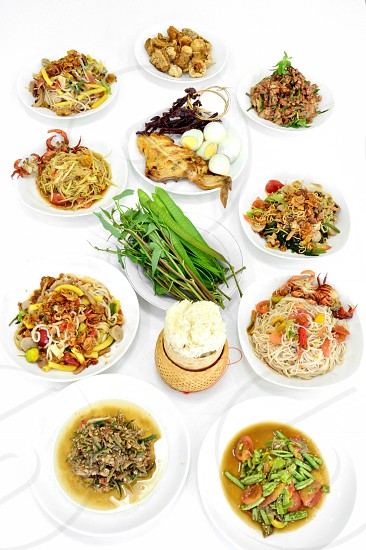southeast asia savor taste yummy delicious eat dine local popular sweet sour tomato crab chicken grilled vegetable fruit sticky rice mixed thailand laos healthy street food fresh spicy hot salad somtam tum tam photo