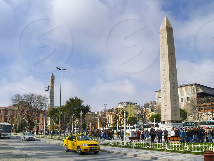 The Obelisk of Theodosius the ancient Egyptian obelisk of Pharaoh Thutmose III re-erected in the Hippodrome of Constantinople (known today as At Meydanı or Sultanahmet Meydanı in the modern city of Istanbul Turkey) by the Roman emperor Theodosius I in the 4th century AD. photo