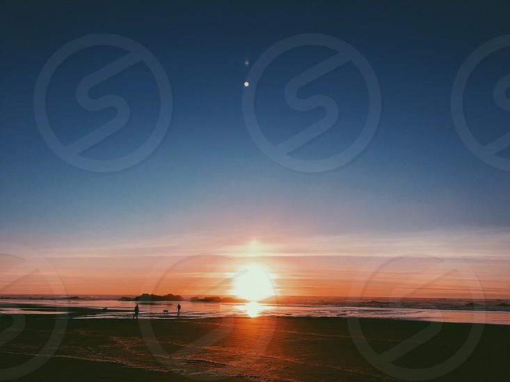 Sunset beach ocean coast walk Oregon west coast PNW  photo