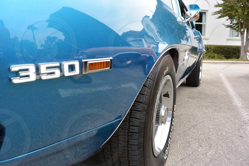 blue sedan photo