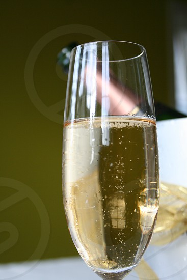 glass of champagne with bottle in bucket photo