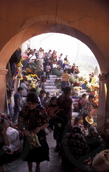 people in traditional clotes in the Village of  Chichi or Chichicastenango in Guatemala in central America.    photo