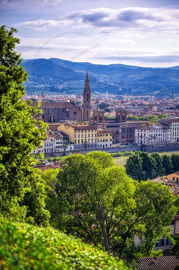 Florence along the Arno River in the Tuscany region of Italy. photo