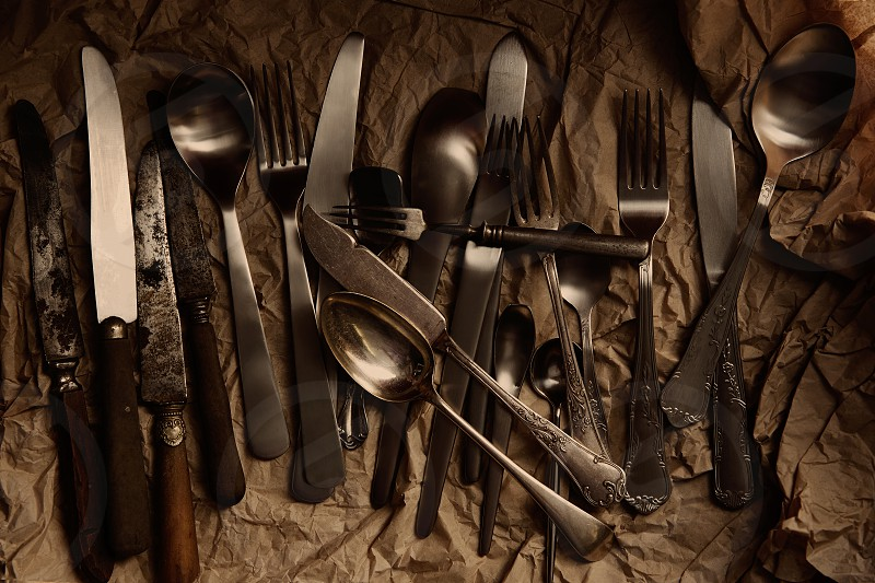 cutlery silverware vintage antiques from second hand market photo