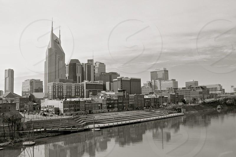Nashville Tennessee riverfront (black and white) photo