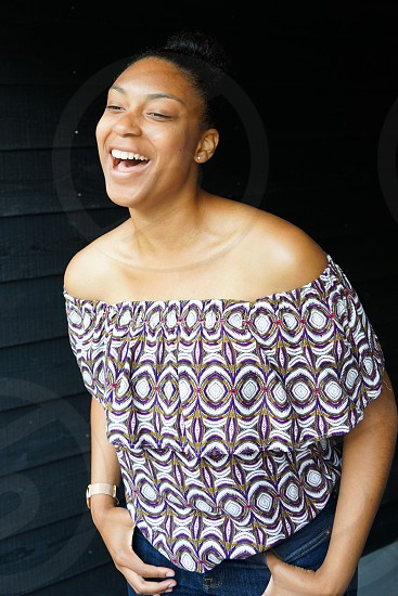 portrait of a afro american happy woman photo