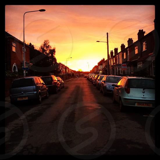 Sunrise view from a town street in England. photo