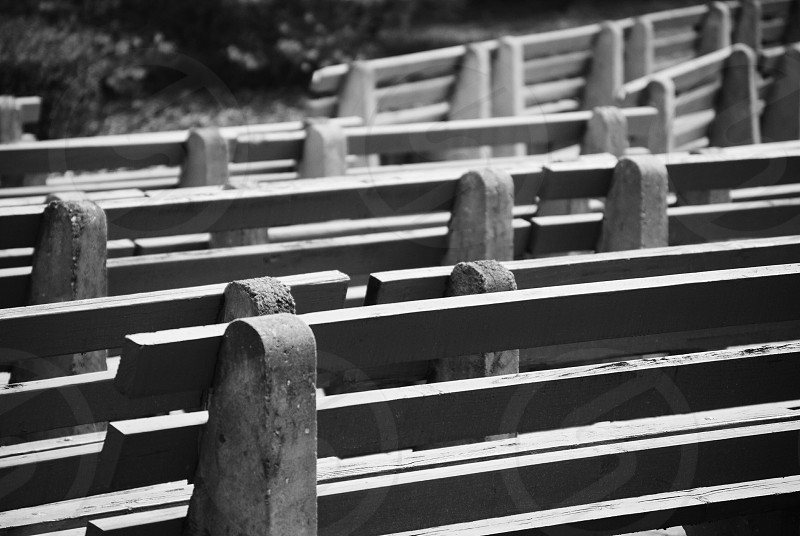 grey metal benches photo