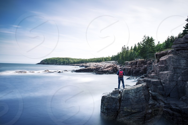 Acadia travel coast east coast trees ocean rocks adventure wanderlust Sky coulds hiking hike mountain tourist vacation trip  photo