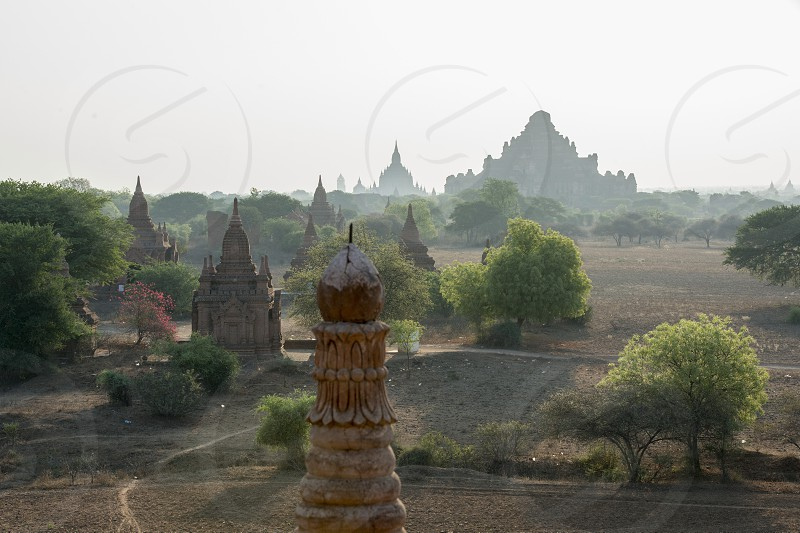 the Temple and Pagoda Fields in Bagan in Myanmar in Southeastasia. photo