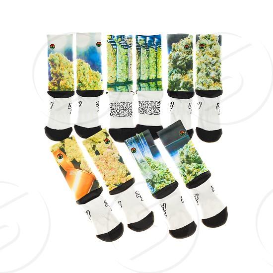 white and black smoke socks photo