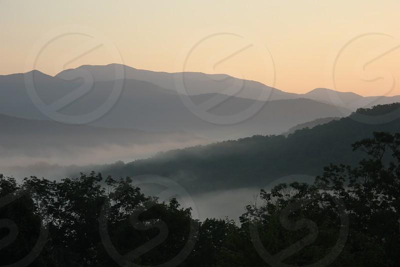 Misty mountain sunrise in the Great Smokey Mountains of western North Carolina. photo