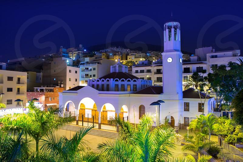 Los Cristianos night church in Tenerife Arona Adeje coast Canary Islands photo