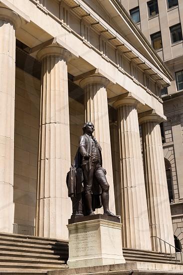 New York Federal hall Memorial George Washington Statue US photo