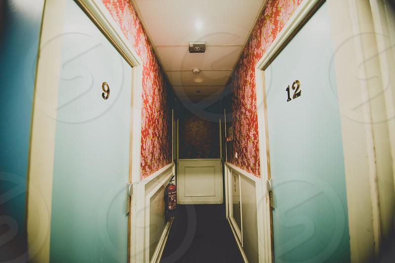 hostel hallway doors wallpaper Amsterdam photo