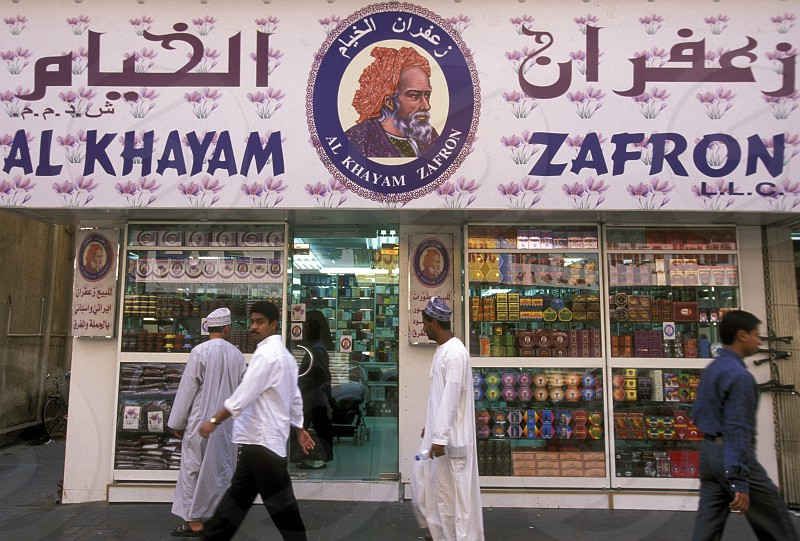 a zafron shop the souq or Market in the old town in the city of Dubai in the Arab Emirates in the Gulf of Arabia. photo