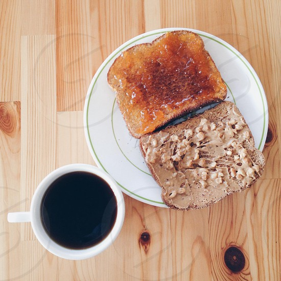 apricot jam + crunchy peanut butter + black coffee photo