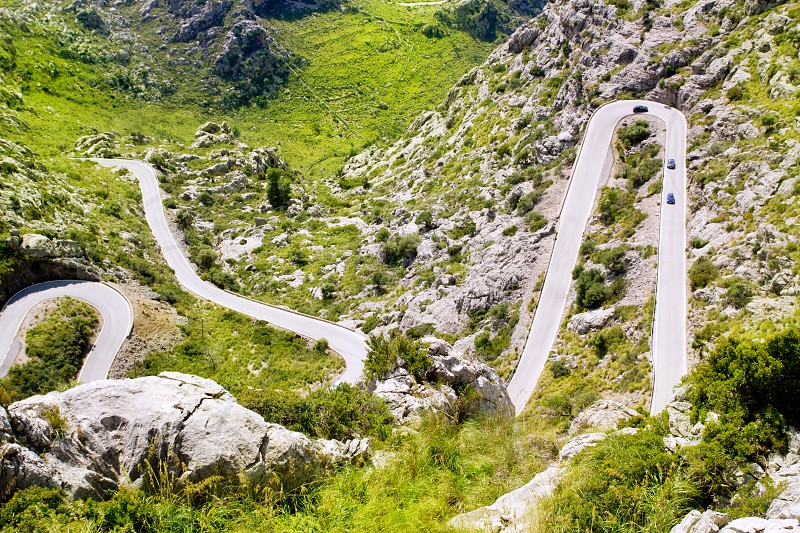 Winding road in mountain near Sacalobra in Mallorca Tramuntana from Spain photo