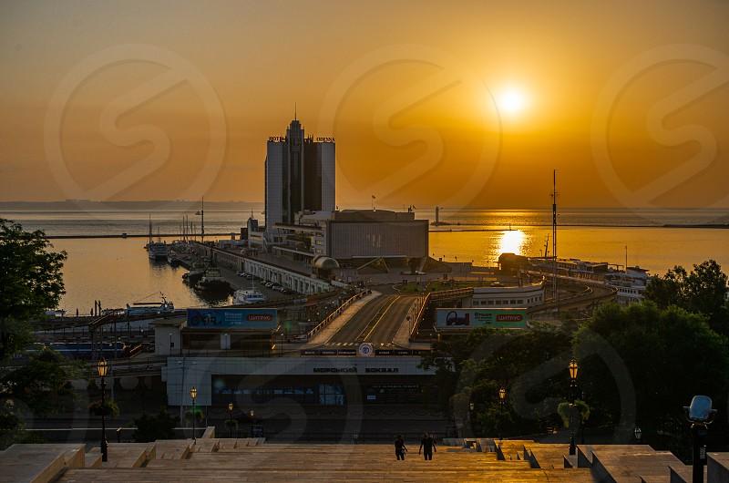 Odessa Ukraine - 06.19.2019. Summer Dawn on Primorsky Boulevard in Odessa Ukraine photo