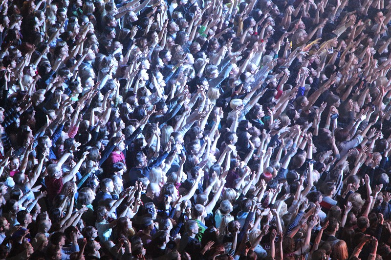 concert live audience hands music show mass people evening vibes photo