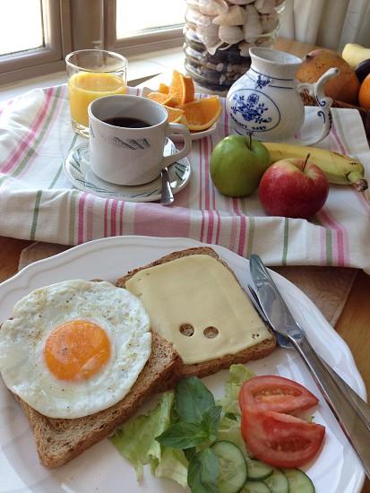 toast eggs fruit and vegetable breakfast photo