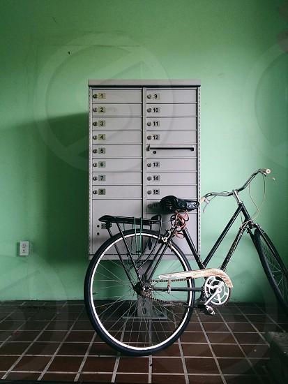 black framed touring bike photo