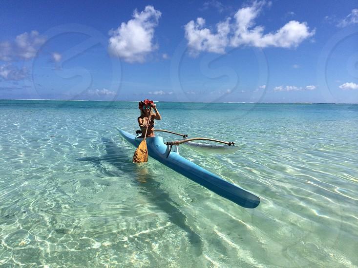 girl on kayak boat photo