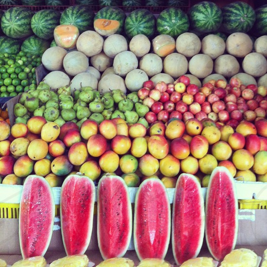 Tropical fruits watermelon mango apple pearlemon food pineapple healty latin america caracas venezuela photo
