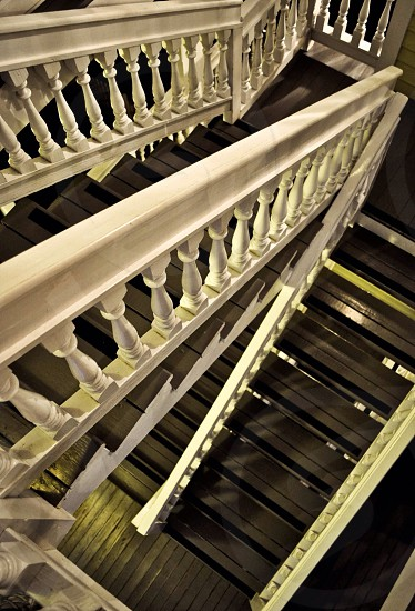 white stair hand railings photo