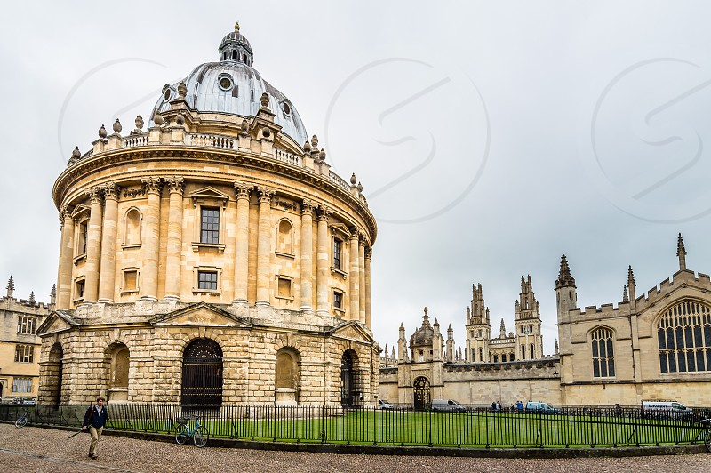 Low angle view of Radcliffe Camera in Bodleian Library in Oxford a cloudy day of summer photo