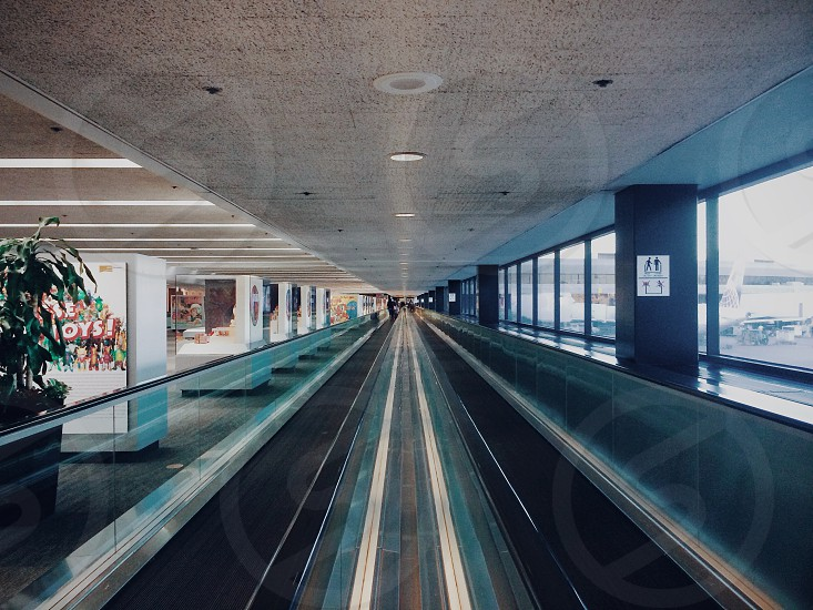view of foot escalator airport photo
