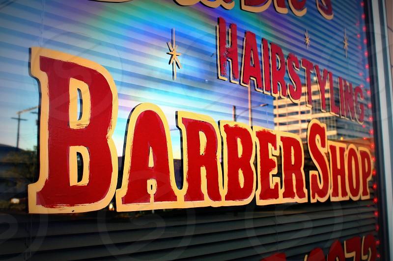 Barber barbershop window hairstylist hair hair cut rainbow photo