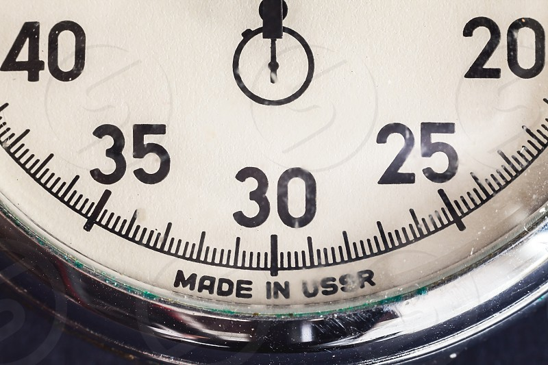 Details of an old retro style Russian stopwatch.  photo