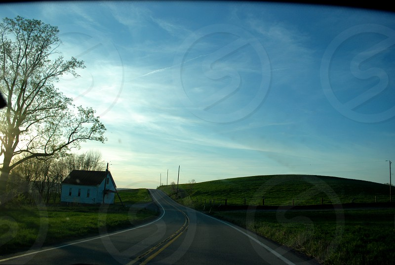 Nature Landscape Pennsylvania Trees House Sky Hills Road.  photo