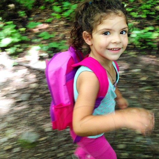 Pretty child hiking photo
