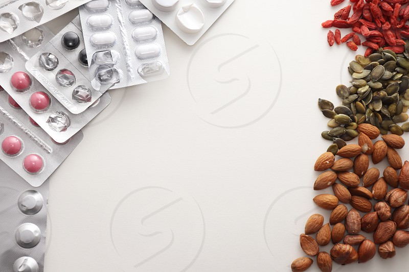 top view of natural products  vs medicine  photo