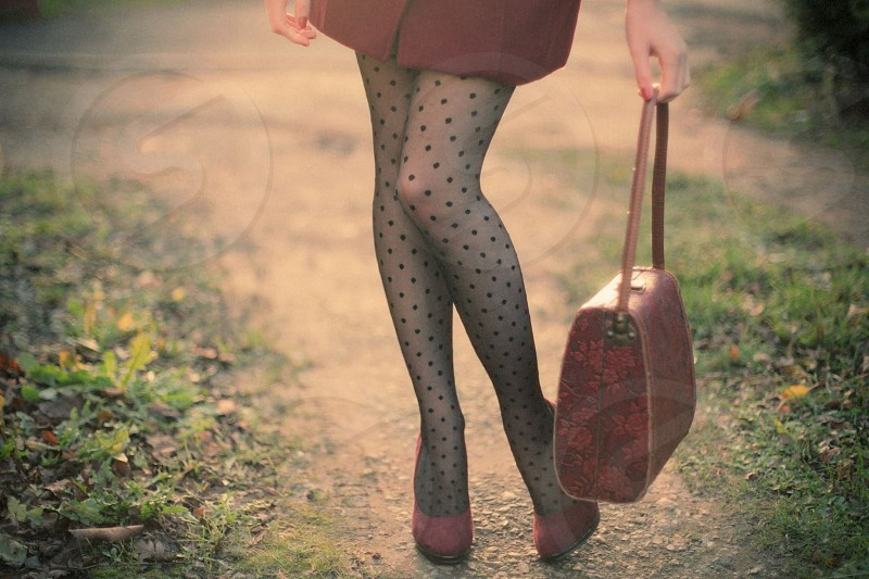 Vintage bag and lovely legs photo