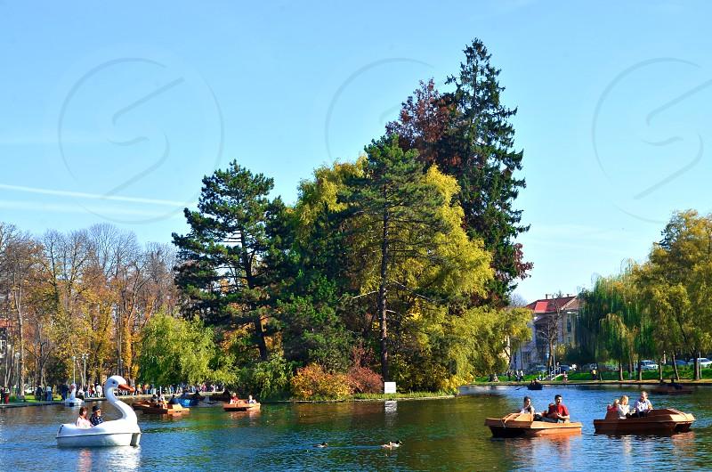 Island in a lake Cluj-Napoca Romania photo