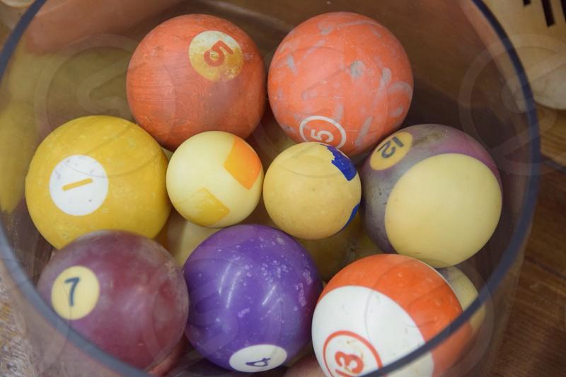 Colorful collectible billiard balls photo