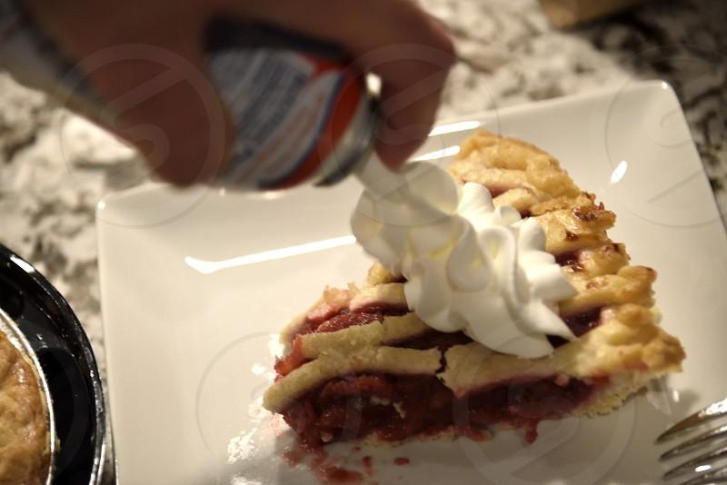 Cherry Pie with Whipped Cream photo