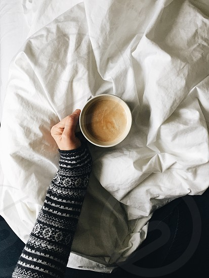 Winter coffee warm drink cozy Christmas jumper knit bed photo