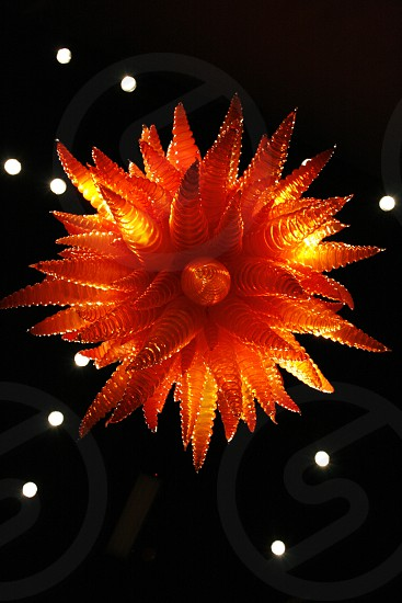 Chihuly blown glass sculpture. Chihuly Glass Garden Seattle WA.  photo