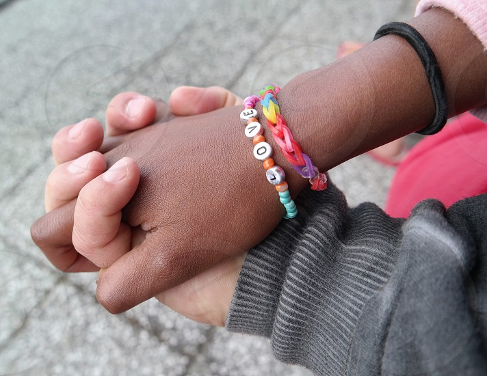 multicolor loom band and love letter bracelet photo