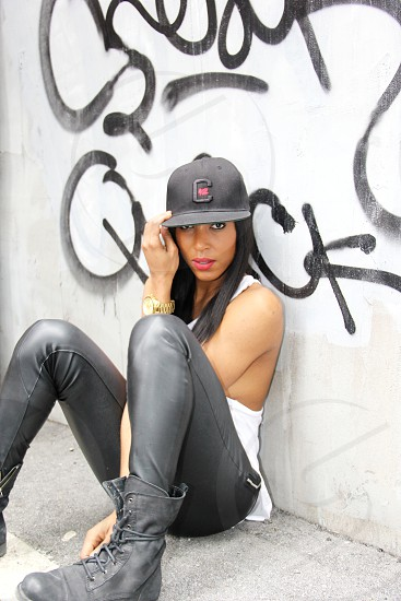 Urban model leather tank hat graffiti style fashion street  photo