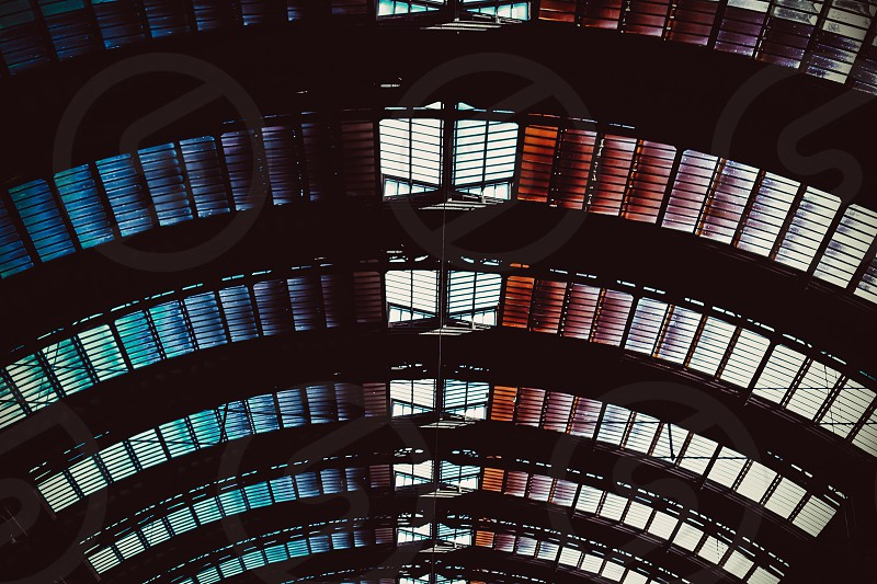Glass Ceiling - Milan train station glass ceiling pattern color gradient repetition photo