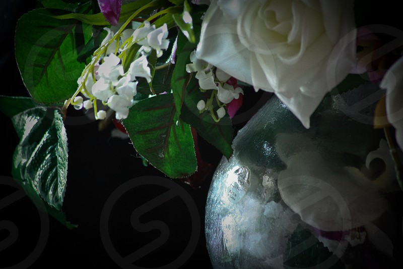 Detailed artistic shot of a simple bouquet of flowers in a vase photo